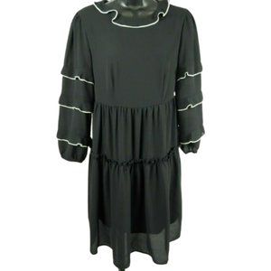 Who What Wear Black 3/4 Ruffle Sleeve Dress